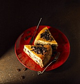 Cheese cake with chocolate chips and coffee beans
