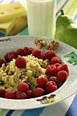 Millet mash with raspberries