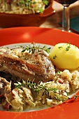 Pheasant á la Bergisches Land with herbal bacon