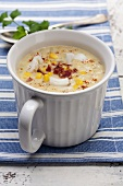 Haddock soup with sweetcorn