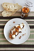 Toasted bread with chocolate spread, cream cheese and kumquat compote