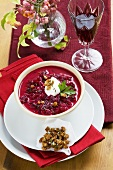 Beetroot soup with goose fat