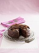 A chocolate truffle cake, sliced