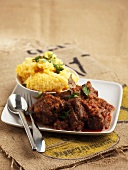 Braised beef with mashed maize