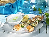 Grilled fish and seafood kebabs