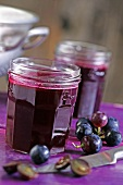Red grape jam in jars