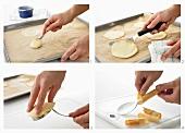 Waffle cookies being prepared
