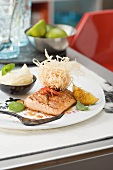 Salmon with a caipirinha marinade and mashed coconut potatoes