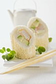 Italian sushi with avocado and prawns