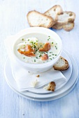 Sauerkraut soup with salmon