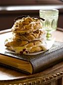 Vanilla and pistachio meringue with pomegranate seeds