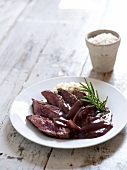 Ostrich steak with celery puree and a red wine sauce