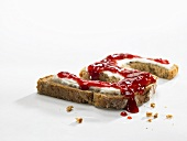 The number 5 made of bread and jam