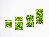 A diagram made of peas