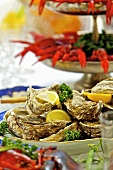 Oysters and cooked crayfish on a table