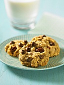 Pecan nut biscuits with chocolate chips