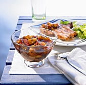 Grilled meat with apricot chutney