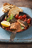 Fried fish fillets with oven roasted tomatoes and toast