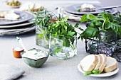 Herb dip and fresh herbs
