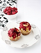 Brioche cupcakes with raspberries