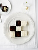 Chessboard dessert (Lamingtons and coconut ice cream)