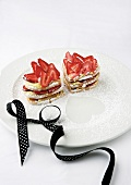Heart-shaped cakes with strawberries and vanilla mascarpone