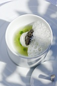 Pea dish with caviar (Molecular gastronomy)