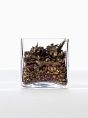 Tea herbs in a glass container