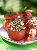 Tomatoes stuffed with grain salad