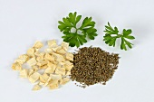Parsley root, leaves and seeds