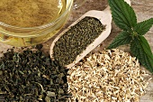 Nettle tea, nettle leaves, seeds and root