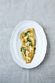 Fried sole fillet with lemon and parsley butter