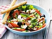 Tomato salad with smoked ham and feta