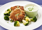Burgers with broccoli and herb sauce
