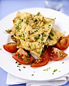 Herb omelette with pine nuts and tomatoes