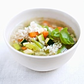 Vegetable soup with rice and basil