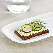 Cottage cheese, cucumber, radishes & dill on wholemeal bread