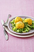 Polenta dumplings on cabbage