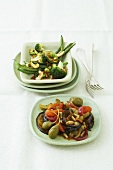 Stir-fried vegetables and sweet and sour vegetable salad