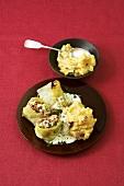 Vegetarian stuffed cabbage leaves with mushroom mashed potato