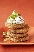 Potato cakes in sesame crust with apple quark