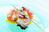 Mustard-marinated belly pork & prawns with pumpkin puree & spinach