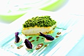 Fish with herb crust, beetroot and white bean puree