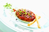 Tomato tart with onion confit