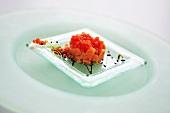 Salmon tartare with tomato caviar