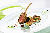Lamb chop with herb crust and fried ceps