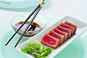Grilled tuna (Ahi) with spicy chilli sauce
