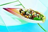 Crispy fish salad in banana flower petal (Thailand)