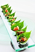 Various salads in betel nut leaves (Thailand)