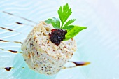 Timbale of crabmeat with mustard and cranberry compote